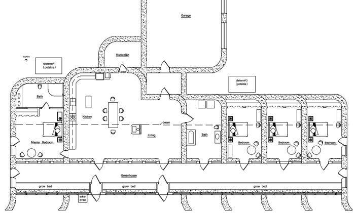 Earthship floor plan ideas floor plan of zero energy use for Earthbag house plans free