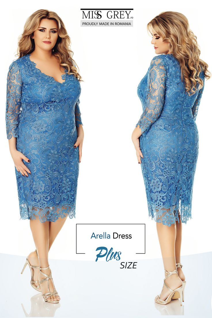 You will look sensational in the plus size Arella dress made from fine embroideredlace in a lovely blue shade
