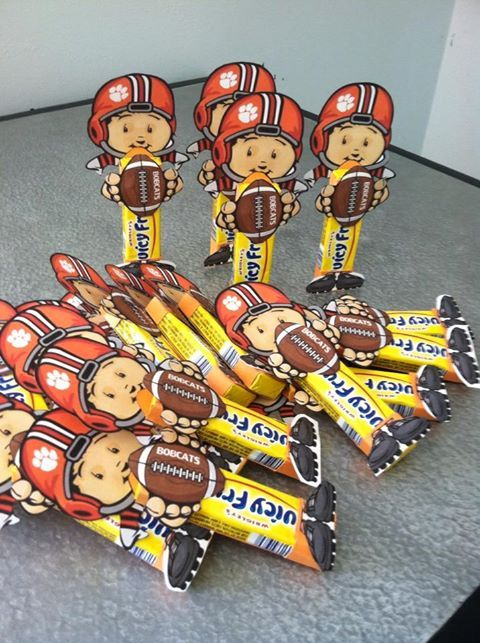 Youth Football Favors! Customized with paw print & Bobcats!