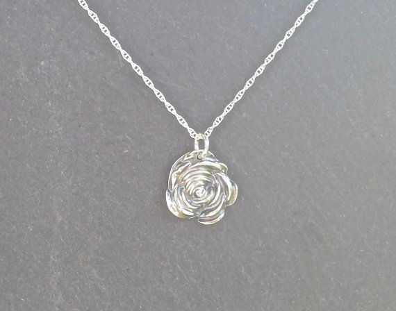 Silver Rose necklace/pendant fine silver by MeltSilver on Etsy