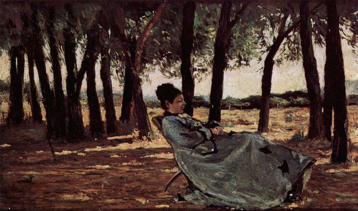 """""""La signora Martelli a Castiglioncello"""", Giovanni Fattori, 1866-70; olio su tavola, 20x33 xm; il dipinto è custodito al Museo civico Giovanni Fattori, Livorno."""