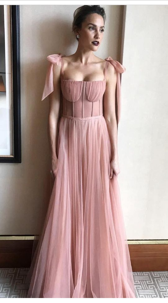 Pink Evening Gowns Spaghetti Backless Exposed Boning Prom Dress A Line Floor Length Celebrity Party Gown Custom Made With Bowtie