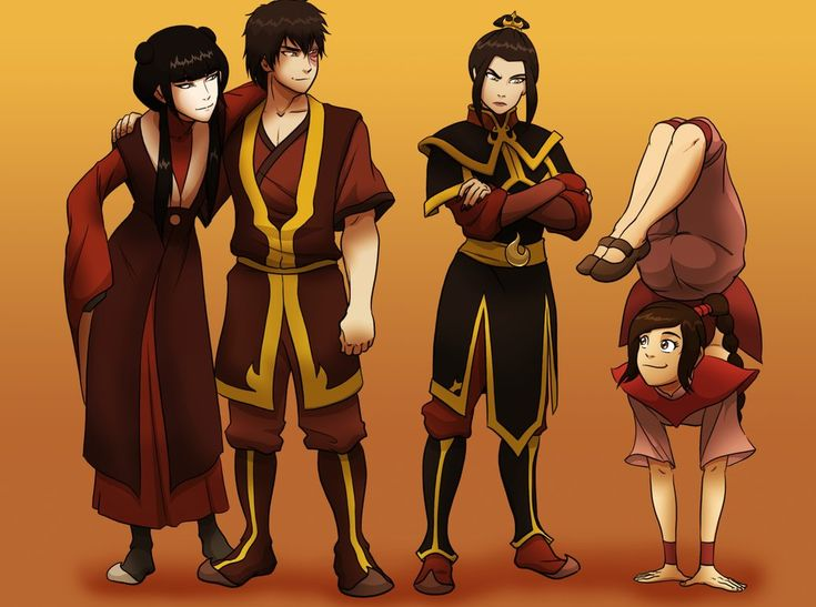 Mai, Zuko, Azula, and Ty Lee.  This is why I love Ty Lee.  She is the fun in the small elite team.  She's so cheerful.
