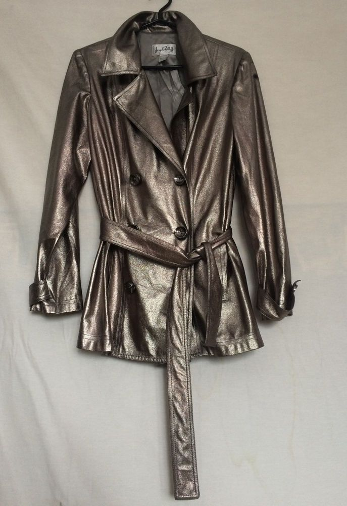Womens Joseph Ribkoff Jacket Sz 12 Silver Lined Long Sleeves Polyester #JosephRibkoff #BasicJacket #Casual