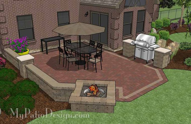 Backyard Brick Patio Design with Fire Pit and Seat Wall | 405 sq ft | Download Installation Plan, How-to's and Material List @Mypatiodesign.com