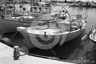 Fishing boats at the pier after fishing in Larnaca. Cyprus, Greece
