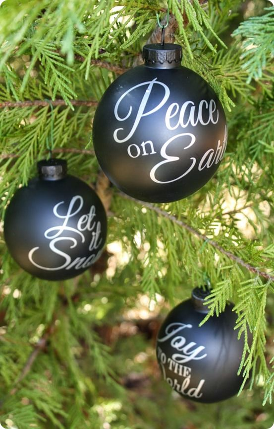 DIY Christmas Ornaments ~ Get the free Silhouette files to recreate Pottery Barn's pricey Joy to the World chalkboard bulbs!
