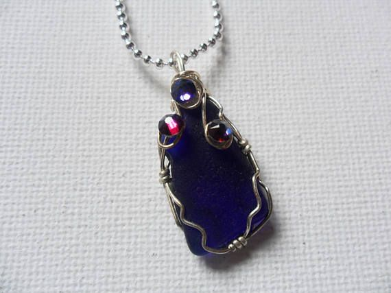 Kobalt Blau Meer Glas und Kristall Halskette  Silber