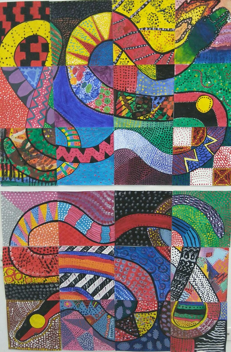 Aboriginal Australia Rainbow Serpent. Collaboration. acrylic paint on paper. Middle School art.