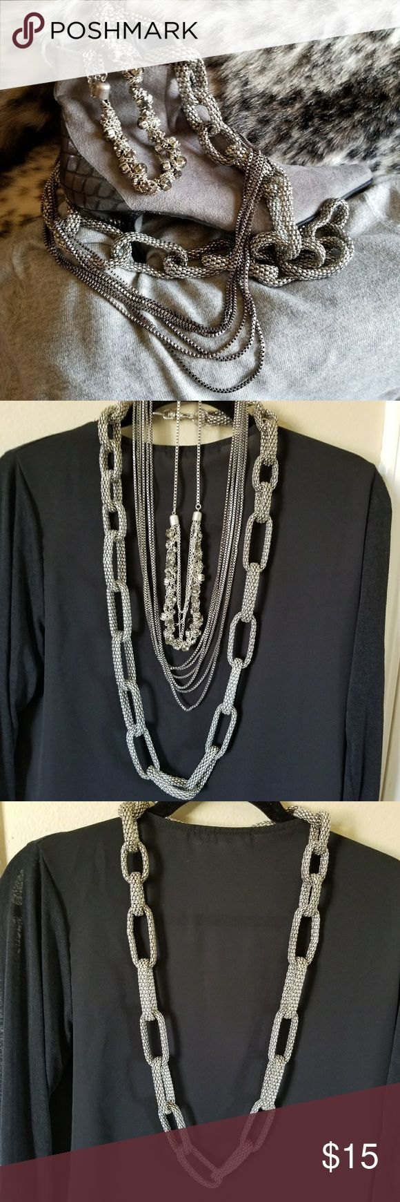Three Night on the Town Necklaces Three Night on the Town Necklaces - silver tone 18 inches, 14 inches and 12 inches. Pre-owned in good condition. They're fun and funky Jewelry Necklaces