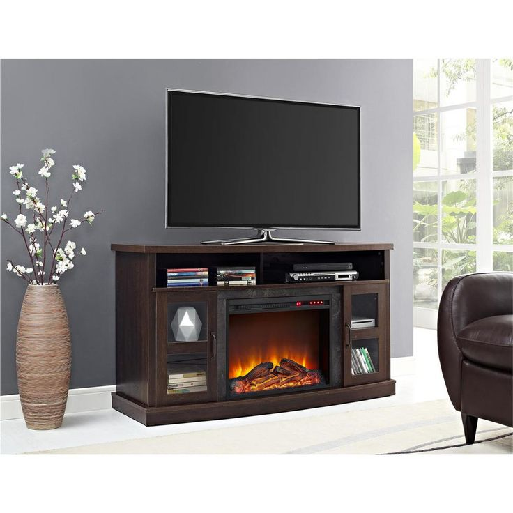 Barrow Creek 60 in. Espresso (Brown) TV Stand Console with Fireplace/Glass Doors