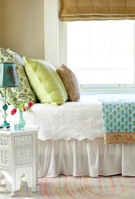 White with pops of color! This is very similar to our bedding!