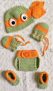 Newborn TMNT Ninja Turtles Michelangelo Crochet Baby Photo Prop 6 Piece Set