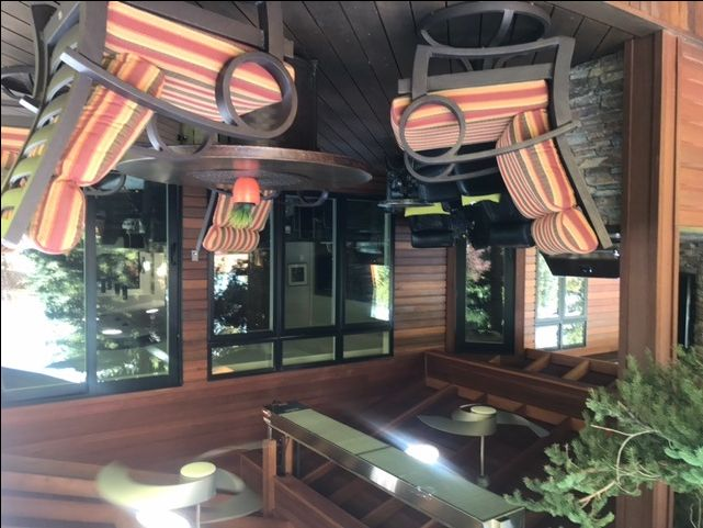 Beautiful outdoor room with tropical hardwood supplied by Kayu Canada. Year round outdoor living in Calgary, Alberta.