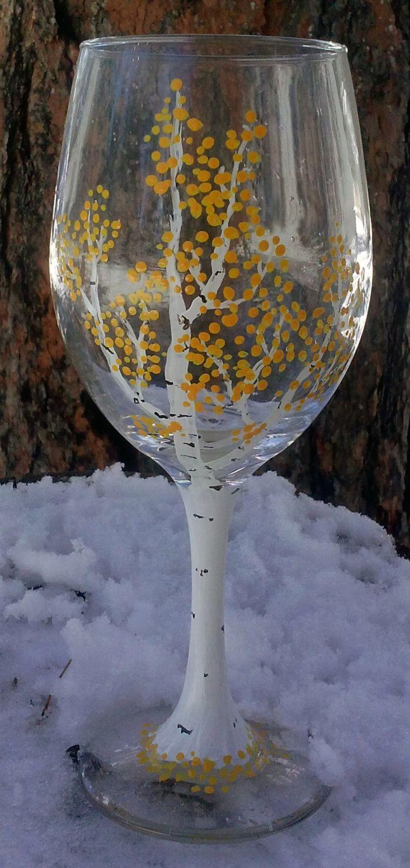 Handpainted Aspen Tree Wine Glasses by JackalopeFarm on Etsy