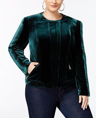 INC International Concepts Plus Size Velvet Biker Jacket, Created for Macy's - Jackets & Blazers - Plus Sizes - Macy's