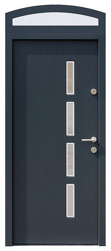Drzwi z naświetlem górnym z szybą wzór 444,11+ds4 w kolorze antracyt.