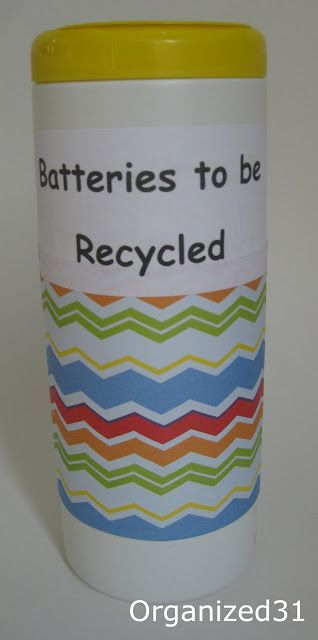 Clorox wipes container converted to battery recycle container.