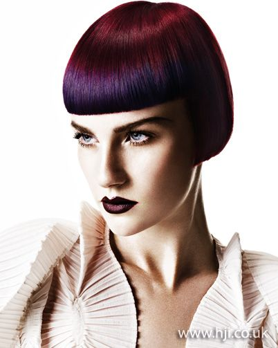 2011 Purple Bob hairstyle    A red and purple classic box bob was dried with a round brush to achieve a rounded shape with a smooth finish. Once dry, hair was straightened to achieve a polished look.     Hairstyle by: Christel Lundqvist  Hairstyle picture by: John Rawson  Salon: hob salons  Location: London