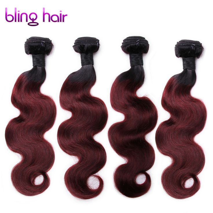 Bling Hair Brazilian Body wave 4 Bundles hair 1B/99J Remy Human Hair For Salon Hair Extention BURG hair weft
