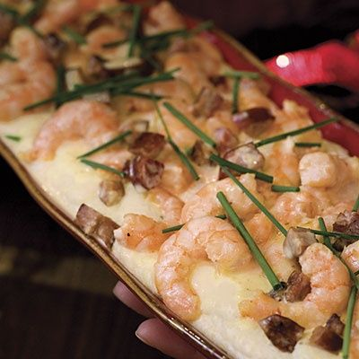 Shrimp and Andouille Sausage With Asiago Grits #food #yummy #delicious