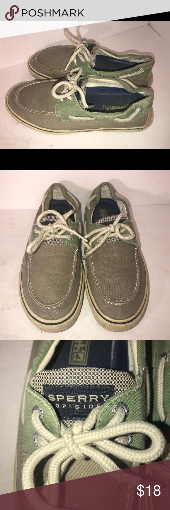 Sperry Top-Sider Sider Mens Khaki Green Sz 8M Sperry Top-Sider Sider Mens Khaki Olive Green Canvas Boat Shoes Sz 8M Comfy  Comes from smoke free pet free home  Ks2 Sperry Top-Sider Shoes Loafers & Slip-Ons