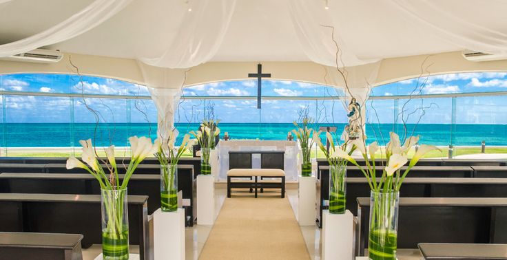 The beautiful beachfront chapel at Moon Palace Cancun overlooks the Caribbean reef