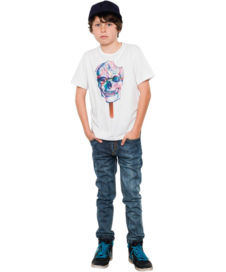 Munster Kids Stoere Zomer T-shirt Met Doodshoofd lollipop. munsterkids.nl.emilea.be