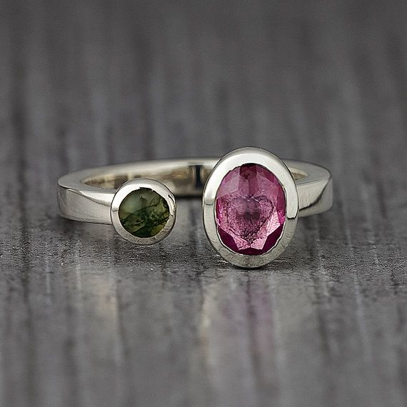 Two Stone Sterling Silver Ring  Stacking Ring  Mineral by EnLitho, €70.00