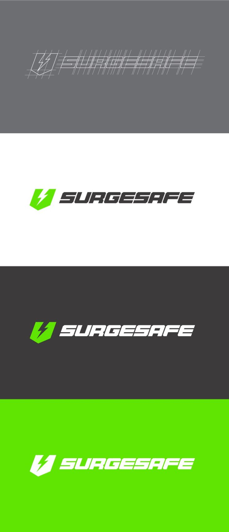 Logomark and logotype breakdown/process for Surgesafe Electrical Testand Tag in Perth, designed by Robot Eats Popcorn. #logo #logoprocess #graphicdesign #branding #logotype #logomark