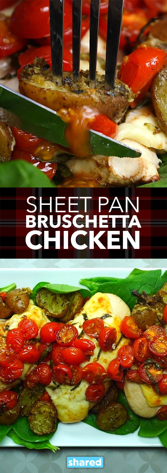Sheet Pan Bruschetta Chicken - When I discovered this recipe for Sheet Pan Bruschetta Chicken, I realized that cooking a delicious meal is possible anytime! Seriously, it doesn't get much easier than this healthy chicken dish - and the flavor? Wow! You'll love this.