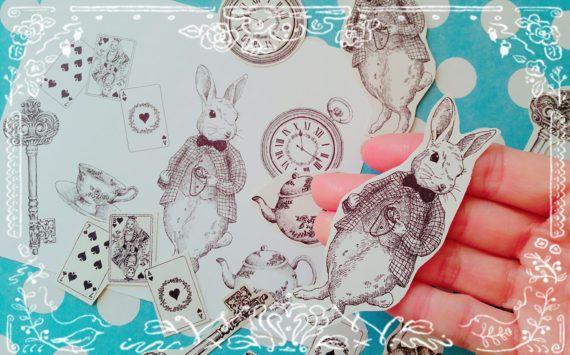 Cute Rabbit,Alice in the wonderland,Alice tea paplanner stickers,Decorate paper in Crafts, Scrapbooking & Paper Crafts, Scrapbooking | eBay!