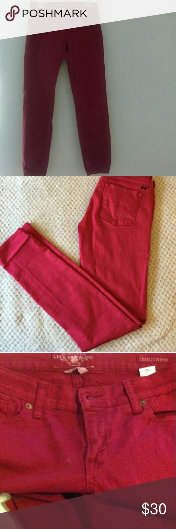Lucky Brand Red Charlie Skinny jeans (SALE 🎊🎉) Red Lucky Brand Charlie Super Skinny Jeans. Great condition!  size 6, Low Rise. Lucky Brand Pants Skinny