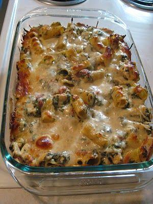 spinach, chicken, pasta casserole