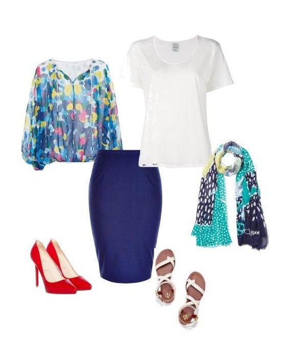 Conjunto veraniego. Falda de tubo azul combinable con blusa vaposora y estampada y tacones, si quieres ir más arreglada; o con camiseta básica, fular estampado y unas sandalias para ir salir cualquier tarde.