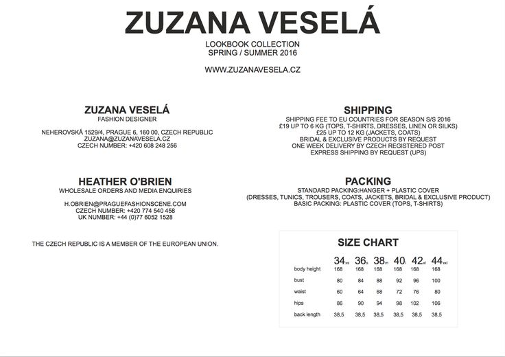 Zuzana Veselá contact, shipping, packing, and sizing information for the Spring/Summer 2016 Collection.