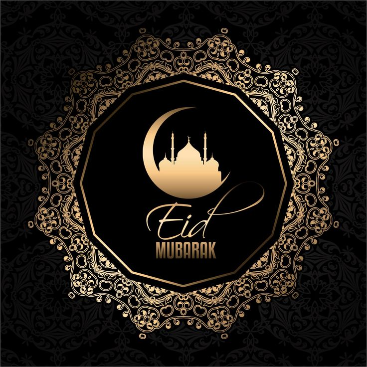 Black Color Design Background Eid Mubarak Greetings Vector  http://www.cgvector.com/50-vector-graphics-eid-greeting-card-and-wallpaper/