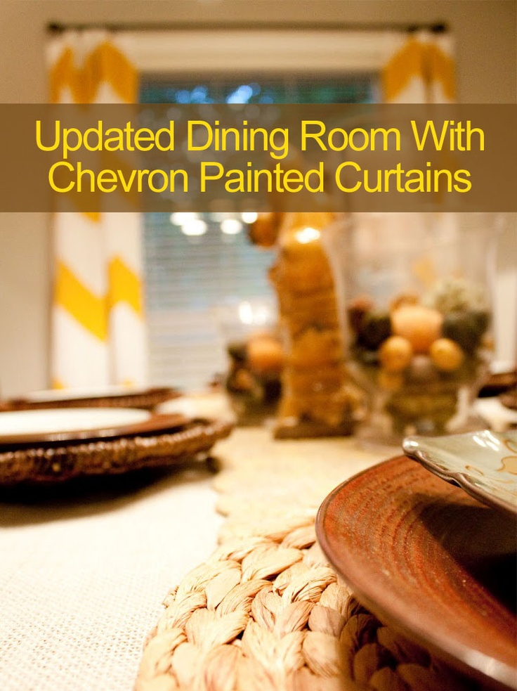 Dining Room - New Lighting, Tablescape And Chevron Painted Curtains  #chevron painted curtains, #lighting #tablescapes