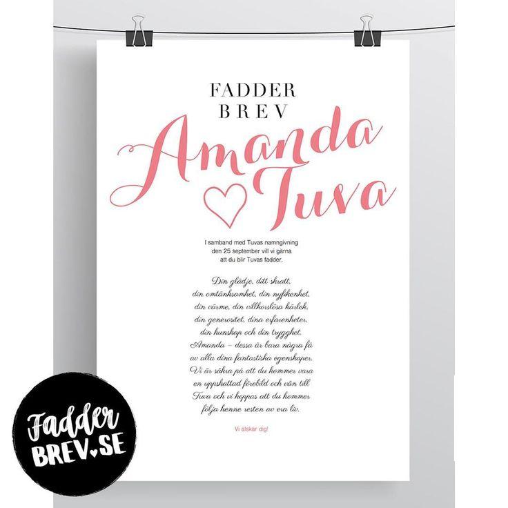 Början på en fin relation mellan lilla Tuva och fadder Amanda. Beställ ett fadderbrev till namngivningen du också på Fadderbrev.se ♥ ⠀