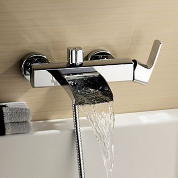 Chrome Finish Single Handle Wall Mount Waterfall Bathtub Faucet Hand Shower Not Included