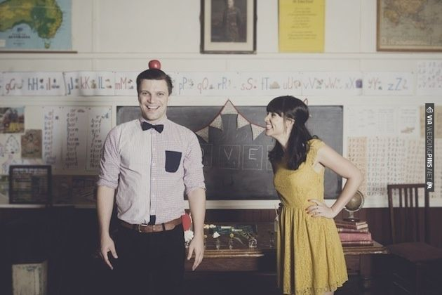 Cute & Quirky School Themed Engagement Shoot Inspiration | Bridal Musings | CHECK OUT MORE IDEAS AT WEDDINGPINS.NET | #weddings #weddinginspiration #inspirational