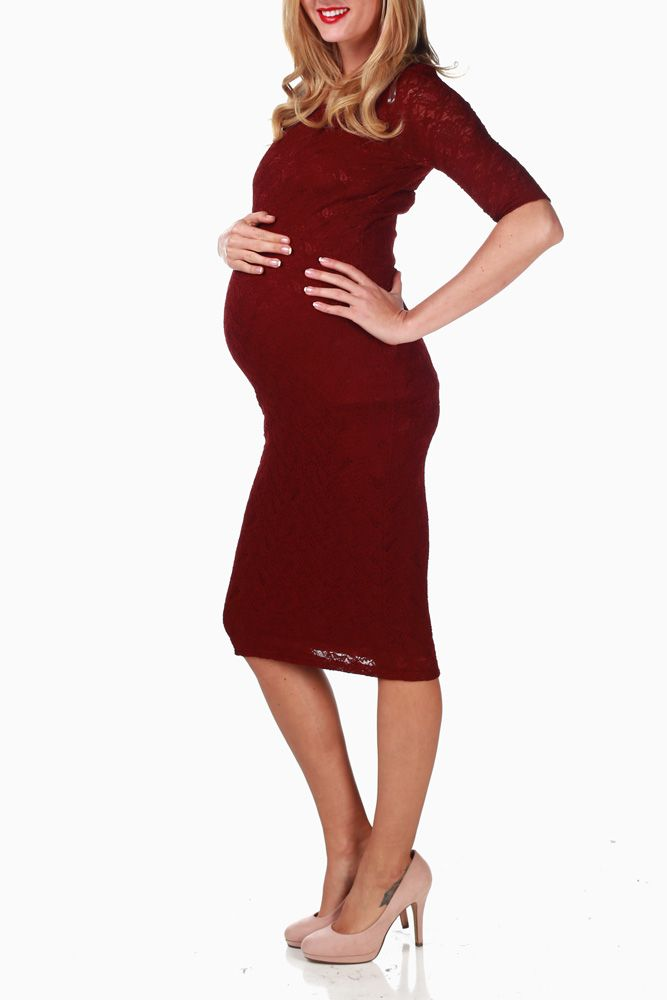 Burgundy-Lace-Maternity-Dress... Holiday party?