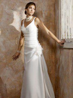 White V-neck Applique Pleated simple wedding dresses