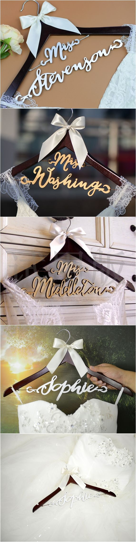 Personalized wedding hanger with bride name in bold and calligraphy font is a must have item for the bride to hang the dress for a photo before slipping it on. You gonna love it to be a perfect wedding shower gift.
