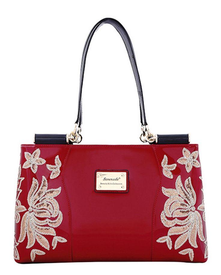 Serenade Ace Sequin Red Patent Leather Handbag. SH80-0647.