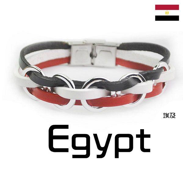 Soccer Nation EGYPT Genuine Leather Bracelet Stainless Steel