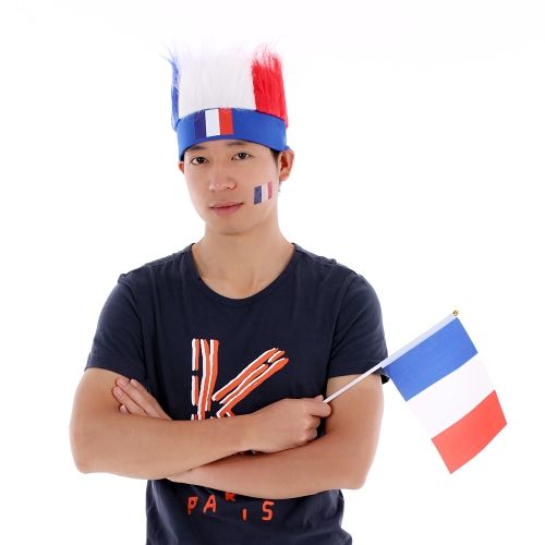 ANSELF France Flag Football Soccer Fans Wig Head Cap European Cup FIFA World Cup Sports Carnival Festival Cosplay Costume + ANSELF 10pcs/set France National Flag Temporary Tattoos Body Face Tattoo Sticker Patriotic Tattoos