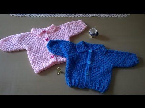 Como hacer chaqueta para niño entre 3 y 6 meses de edad con adorno de cochecito a crochet o ganchillo