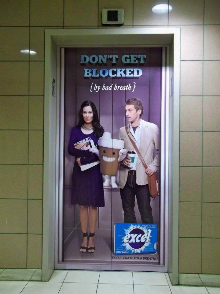 These Elevator door graphics were designed for Wrigley's Canada for their campaign for Excel Chewing Gum. These were installed on elevator doors of office buildings in Canada to show that fresh breath is even more important in confined spaces.