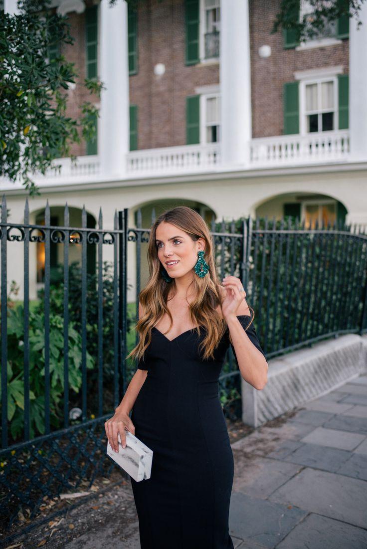 Gal Meets Glam The Little Black Dress + Manolo Blahnik Giveaway -Cinq A Sept dress, J.Crew earrings & L'Afshar clutch